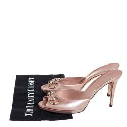 Gucci Pale Pink Guccissima Patent Leather Horsebit Slide Sandals Size 40