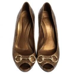 Gucci Bronze Guccissima Leather New Hollywood Horsebit Peep Toe Pumps Size 39