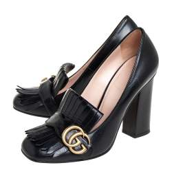 Gucci Black Leather GG Marmont  Pumps Size 38