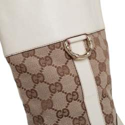 Gucci Cream/Brown Leather And Canvas Mid Calf  Boots Size 39