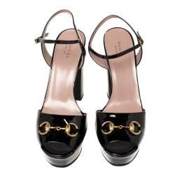 Gucci Black Patent Leather Claudie Horsebit Peep Toe Platform Sandal Size 40