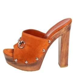 Gucci Brown Suede Morena Horsebit Mule Sandals Size 36