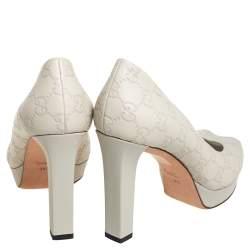 Gucci Grey Guccissima Leather Peep Toe Platform Pumps Size 39.5
