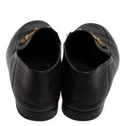 Gucci Black Leather Horsebit Slip On Loafers Size 38