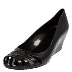 Gucci Black Rubber Peep Toe Wedge Pumps Size 38