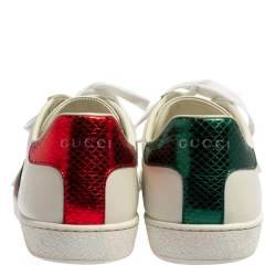 Gucci White Leather And Python Embossed Leather Ace Bee Web Low Top Sneaker Size 37.5
