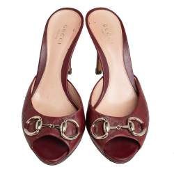 Gucci Burgundy Guccissima Leather Horsebit Slide Sandals Size 35
