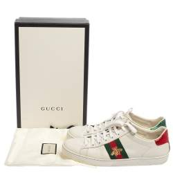 Gucci White Leather And Canvas Ace Sneakers Size 39