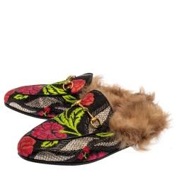 Gucci Black Floral Brocade Fabric And Fur Horsebit Princetown Mules Size 38.5
