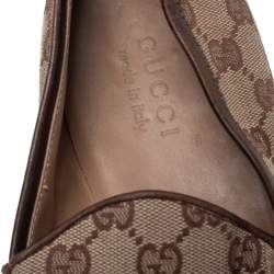 Gucci Beige/Brown GG Canvas Loafers Size 43