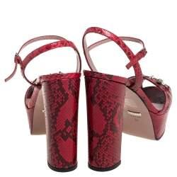 Gucci Red/Burgundy Python Leather Claudie Horsebit Platform Sandals Size 38