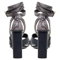 Gucci Blue/Grey Python and Leather Crisscross Ankle Strap Sandals Size 38