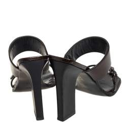 Gucci Vintage Brown Patent Leather Open Toe Mule Sandals Size 39