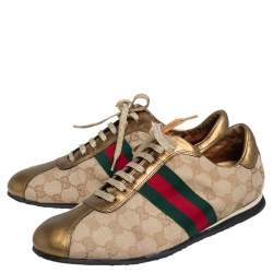 Gucci Gold/Beige GG Canvas And Leather Web Detail Low Top Sneakers Size 39