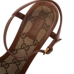 Gucci Brown Leather Horsebit Ankle Strap Open Toe Block Heel Sandals Size 38.5