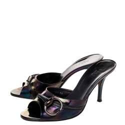 Gucci Multicolor Iridescent Patent Leather Horsebit Slide Sandals Size 36