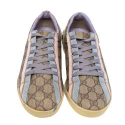 Gucci Beige GG Coated Canvas And Fabric Web Low Top Sneakers Size 40
