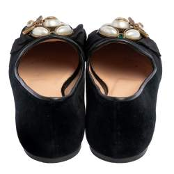 Gucci Black Suede Butterfly Bee Pearl Smoking Slippers Size 35