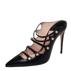 Gucci Black Leather Aneta Strappy Pointed Mules Size 39