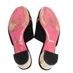Gucci Black Embroidered Satin Crystal Embellished Heel Mules Size 37
