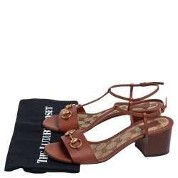 Gucci Brown Leather Horsebit Detail T-Strap Sandals Size 39