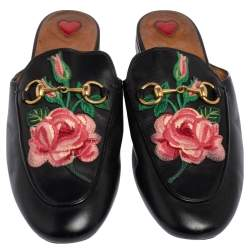 Gucci Black Leather Princetown Flower Embroidered Flat Mules Size 37
