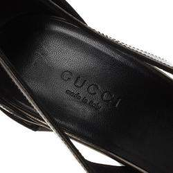 Gucci Bronze Metallic Leather Ankle Strap Pumps Size 38.5
