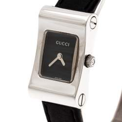 Gucci Black Stainless Steel 2300L Women's Wristwatch 17 mm