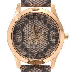 Gucci Brown Gold Plated Stainless Steel G-Timeless Bee 126.4 Women's Wristwatch 38MM