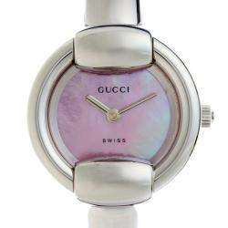 Gucci Pink MOP Stainless Steel 1400L Women's Wristwatch 25 MM
