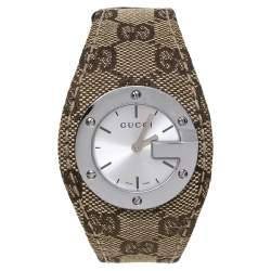 Gucci Silver Stainless Steel Canvas G-Bandeau 104 Women's Wristwatch 31 mm