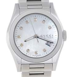 Gucci MOP Diamonds Stainless Steel Pantheon YA115403 115.4 Women's Wristwatch 36 MM