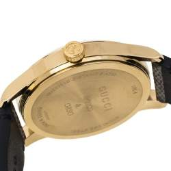 Gucci Brown Dog Design Yellow Gold PVD Coated Stainless Steel G-Timeless Bosco & Orso 126.4 Women's Wristwatch 38 mm