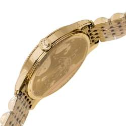 Gucci Silver Sunburst Yellow Gold PVD Coated Stainless Steel G-Timeless 126.4 Women's Wristwatch 38 mm