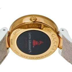 Gucci Silver White Yellow Gold PVD Coated Stainless Steel Rubber Latin Grammy's YA133313 Women's Wristwatch 37 MM