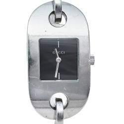 Gucci Black Stainless Steel 6155L Women's Wristwatch 22mm