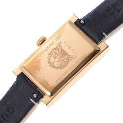 Gucci Blue/Red Gold Tone Stainless Steel G Frame YA147405 Quartz Women's Wristwatch 20 MM