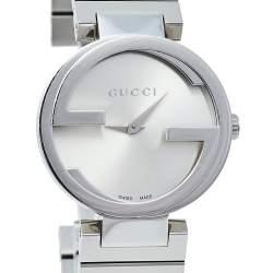 Gucci Silver Stainless Steel Interlocking YA133503 Women's Wristwatch 29 mm