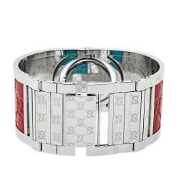 Gucci White Stainless Steel Leather Twirl YA112435 Women's Wristwatch 23 mm