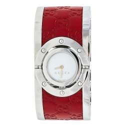Gucci White Stainless Steel Leather Twirl YA112435 Women's Wristwatch 23 mm