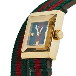 Gucci Gold PVD Stainless Steel Web Double Wrap G-Frame YA128527 Women's Wristwatch 14 mm