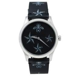 Gucci Black Stainless Steel Bee & Star Print Leather G-Timeless YA1264105 Women's Wristwatch 38 mm