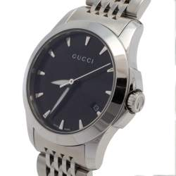 Gucci Black Stainless Steel G-Timeless YA126501 Women's Wristwatch 27 mm