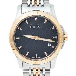 Gucci Black Two Tone Stainless Steel G-Timeless YA126512 Women's Wristwatch 27 mm