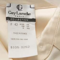 Guy Laroche Paris Collection Vintage Cream Silk Satin Button Front Shirt L