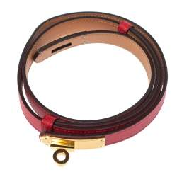 Hermes Rouge Tomate Epsom Leather Gold Plated Hardware Kelly 18 Belt Size Adjustable