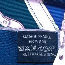 Hermes Marine Blue Plumets Du Roy Silk Scarf