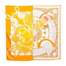 Hermès Orange Plumets du Roy Silk Scarf