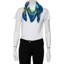 Hermès Blue Cuivreries Silk Scarf