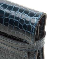 Hermes Royal Blue Alligator Long Kelly Wallet